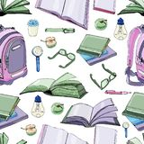 Seamless pattern of  hand drawn ink and colored  sketch with books and school items . Color elements isolated on white background stock illustration