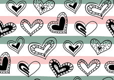 Seamless pattern with hand drawn ink doodle hearts, stripes. Royalty Free Stock Photography