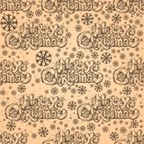 Seamless pattern with inscription Merry Christmas. Seamless pattern with hand drawn inscription Merry Christmas and snowflakes for wrapping paper, web pages and Royalty Free Stock Images
