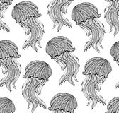 Seamless pattern with Hand drawn jellyfish for adult Coloring Page vector illustration