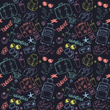 Seamless pattern with hand drawn journey items. Royalty Free Stock Photos
