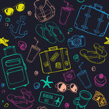 Seamless pattern with hand drawn journey items. Royalty Free Stock Photography
