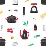 Seamless pattern with hand drawn kitchen utensils on white background. Backdrop with tools for home cooking or food Royalty Free Stock Photography
