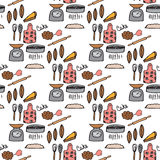 Seamless pattern with hand-drawn kitchenware and foods Stock Photo
