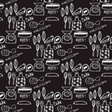 Seamless pattern with hand-drawn kitchenware and foods Royalty Free Stock Photos