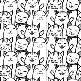 Seamless pattern with hand drawn kittens Royalty Free Stock Photography