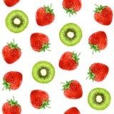 Seamless pattern with hand-drawn Kiwi and Strawberry. stock illustration