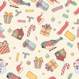 Seamless pattern of Hand drawn knitted winter accessories. Doodle holiday background and place for your text Royalty Free Stock Image