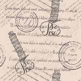 Seamless pattern with hand drawn Leaning tower of Pisa, lettering Pisa and faded text Stock Photo