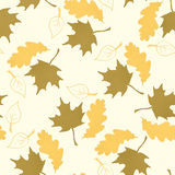 Seamless pattern with hand drawn leaves Stock Photos