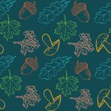 Autumn seamless pattern with leaves. Seamless pattern with hand drawn leaves, acorn, mushroom and berries. Sketched autumn design elements of leaf fall and royalty free illustration