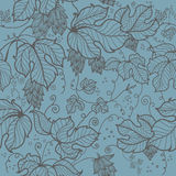 Seamless pattern with  hand drawn leaves  of hop Stock Images