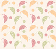 Seamless pattern with hand drawn leaves with line patterns Royalty Free Stock Photos