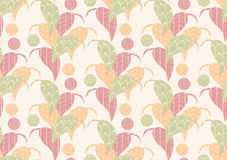 Seamless pattern with hand drawn leaves with line patterns Royalty Free Stock Photography