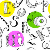 Seamless pattern with hand drawn letters. Stock Image