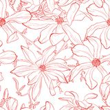 Seamless pattern with hand drawn line red magnolia flower. Vector illustration. Botanical pattern for textiles and wallpapers. White background vector illustration