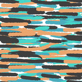 Seamless pattern with hand drawn lines in blue, black and orange vintage colors. Bright background for greeting cards Royalty Free Stock Photos