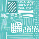 Seamless pattern with hand drawn lines, dots and Stock Images