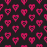 Seamless pattern hand drawn lips and hearts. Stock Photography