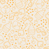 Seamless pattern with hand drawn lovely elements. Stock Photo