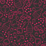 Seamless pattern with hand drawn lovely elements Stock Photography