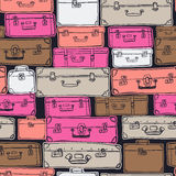Seamless pattern with hand drawn luggage. Royalty Free Stock Image