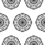 Seamless pattern with hand drawn mandalas Royalty Free Stock Photography