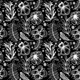 Seamless pattern of hand drawn manual flowers and plants. Monochrome vector illustrations in sketch style. Stylization fantasy vector illustration