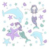 Seamless Pattern with Hand drawn with mermaids, sea star, flowers and shells in pastel colors. Cute Illustration for baby showers, vector illustration