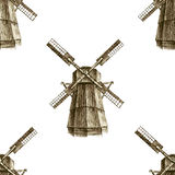 Seamless pattern with hand drawn mills Stock Photos