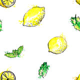Seamless pattern with hand drawn mint leaves and lemons Royalty Free Stock Photography