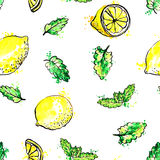 Seamless pattern with hand drawn mint leaves and lemons Royalty Free Stock Photo