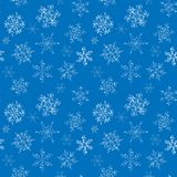 Seamless pattern of hand-drawn black-and-white snowflake stock photography