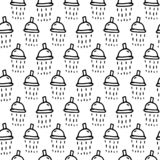 Seamless pattern hand drawn mixer water. Doodle black sketch. Si stock illustration