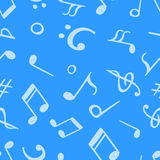 Seamless pattern from hand drawn music notes and symbols. Endless vector backdrop Stock Photos