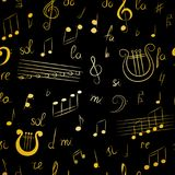 Seamless Pattern of Hand Drawn Music Symbols.  Golden Doodle Treble Clef, Bass Clef, Notes and Lyre. Stock Image