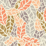 Seamless pattern with hand drawn natural leaves Royalty Free Stock Photography