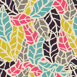Seamless pattern with hand drawn natural leaves Stock Image