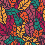 Seamless pattern with hand drawn natural leaves Stock Photography