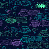 Seamless pattern with hand drawn neon fishes. Vector. Royalty Free Stock Photography