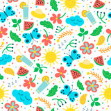 Seamless pattern with hand drawn objects: sun, cloud, flowers, leaves, cocktail, butterfly. Stock Photo