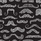 Seamless pattern with hand drawn old fashion mustaches. Black contour artistic drawing. Actual hipster vector. Male barber shop background Royalty Free Illustration