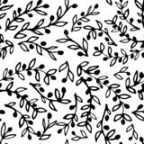 Seamless pattern of hand-drawn olive branches on white background.  vector illustration