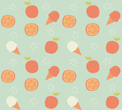 Seamless pattern with hand drawn orange fruit and ice cream Stock Photography