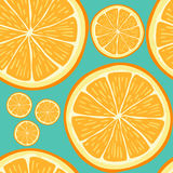 Seamless pattern with hand drawn orange slices. Stock Images
