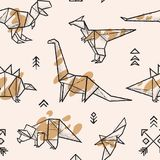 Origami dinosaurs with splashes seamless pattern. Trendy hand drawn vector illustration. Seamless pattern with hand drawn origami dinosaurs with splashes. Vector Royalty Free Stock Photo