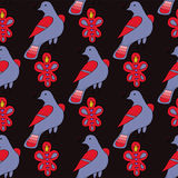 Seamless pattern with hand drawn ornament and birds Royalty Free Stock Photography