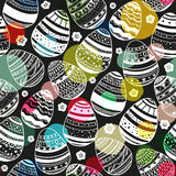 Seamless pattern with hand drawn ornamental eggs and colorful scattered confetti. royalty free illustration