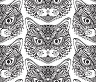 Seamless pattern with hand drawn ornate doodle cat faces. Royalty Free Stock Photos