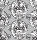 Seamless pattern with hand drawn ornate zentagle chimpanzee mon. Key. Ethnic graphic style. New Year background vector illustration